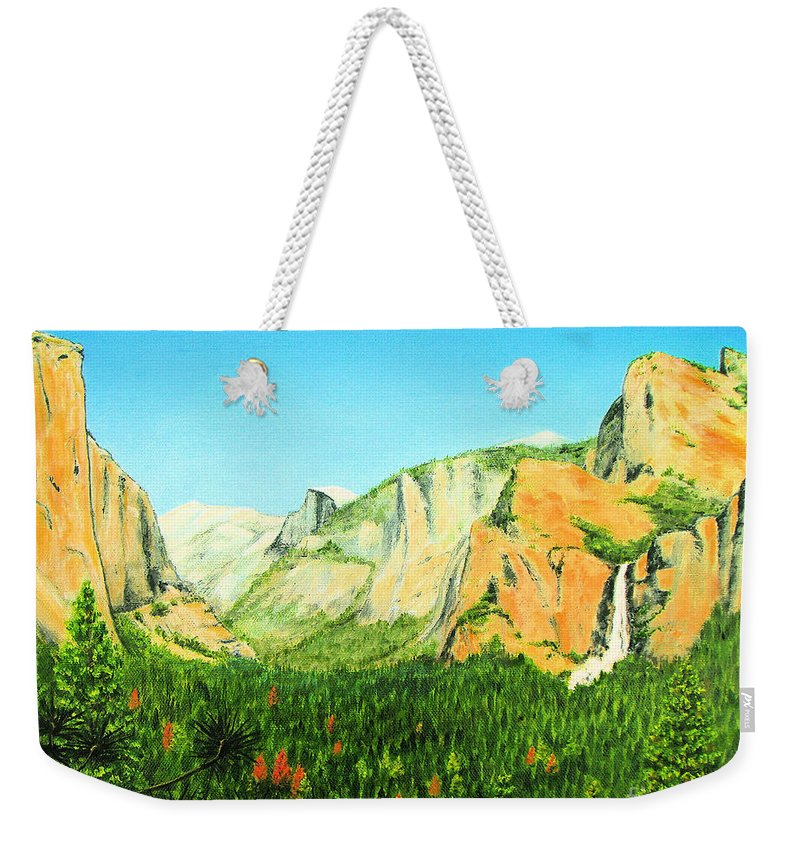 Yosemite National Park Weekender Tote Bag featuring the painting Yosemite National Park by Jerome Stumphauzer