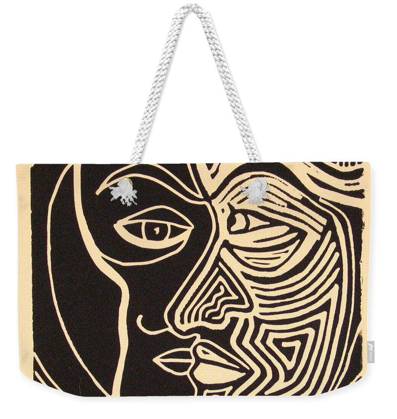 Faces Weekender Tote Bag featuring the drawing You and Me by Rollin Kocsis