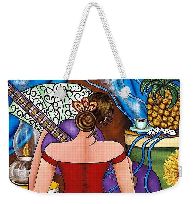 Cuba Weekender Tote Bag featuring the painting You Belong To Me by Annie Maxwell