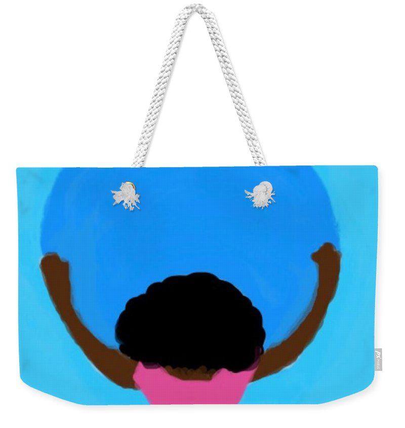 Moon Weekender Tote Bag featuring the digital art You Can Carry The Moon 103 by Joan Ellen Gandy