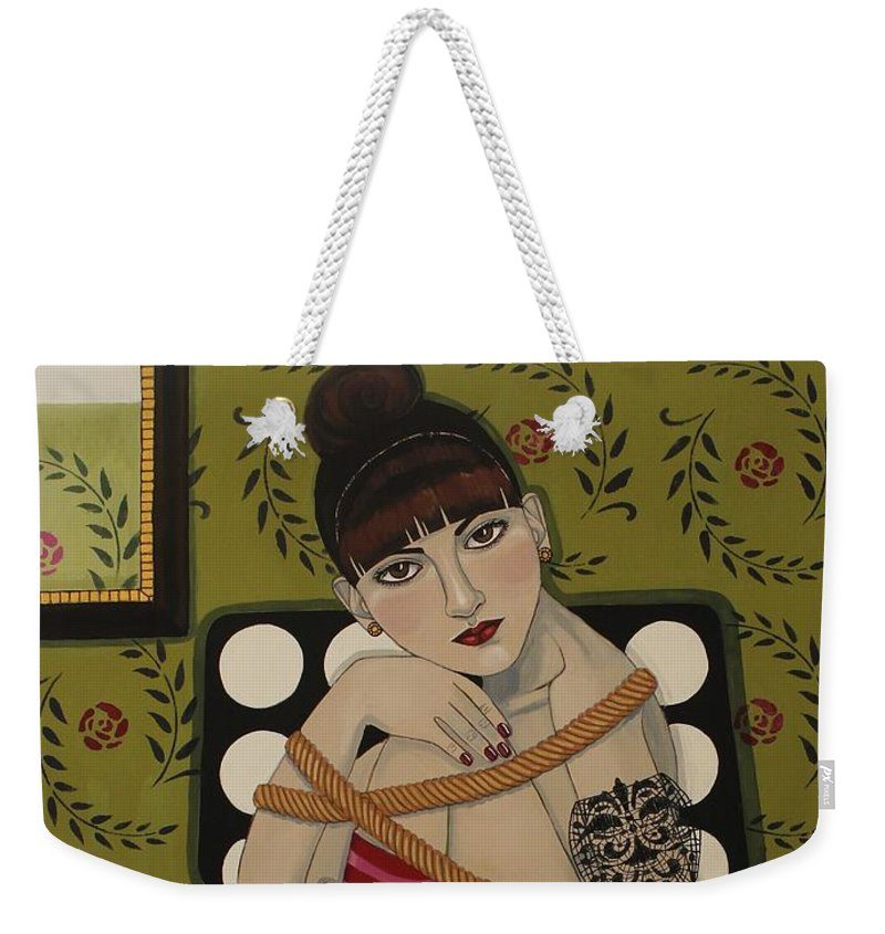 Portrait Weekender Tote Bag featuring the painting You Can't Hold Me Back by Stephanie Cohen