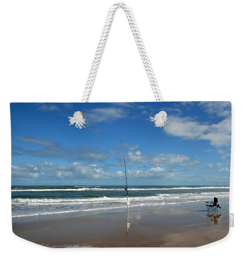 Fish Fishing Vacation Beach Surf Shore Rod Pole Chair Blue Sky Ocean Waves Wave Sun Sunny Bright Weekender Tote Bag featuring the photograph You Could Have Been There by Andrei Shliakhau