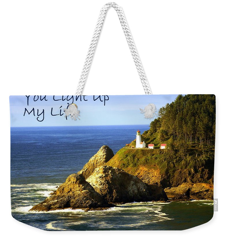 Photo Greeting Card Weekender Tote Bag featuring the greeting card You Light Up My Life 1 by Marty Koch
