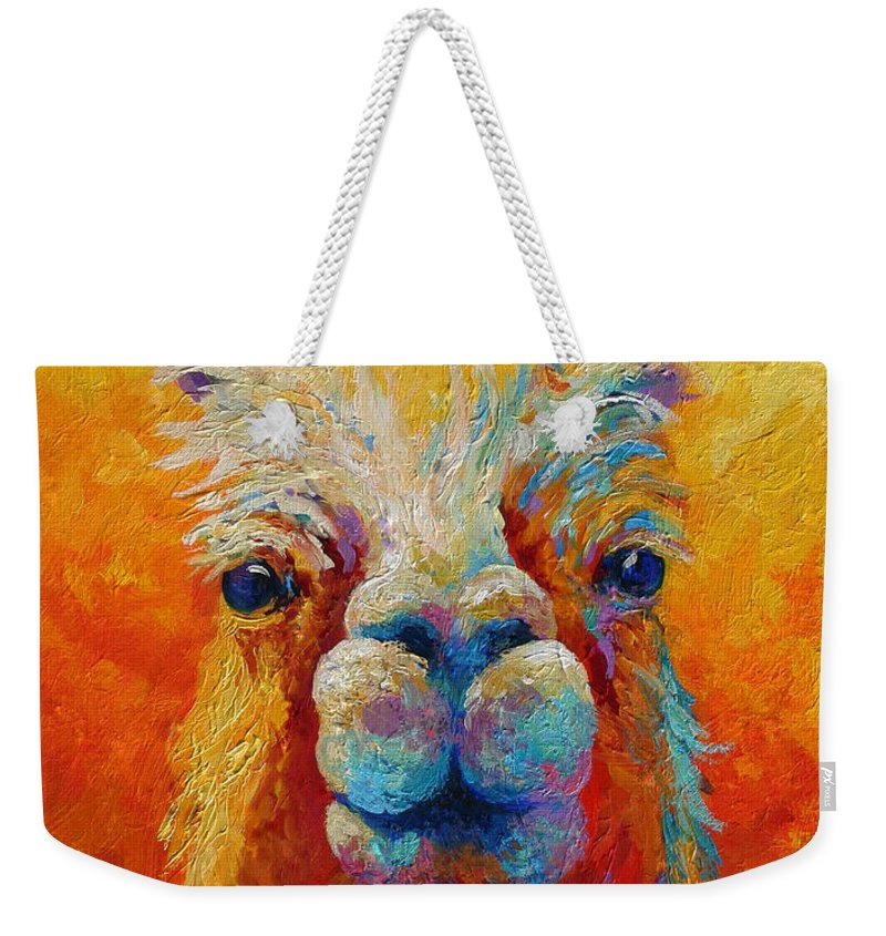 Llama Weekender Tote Bag featuring the painting You Lookin At Me by Marion Rose