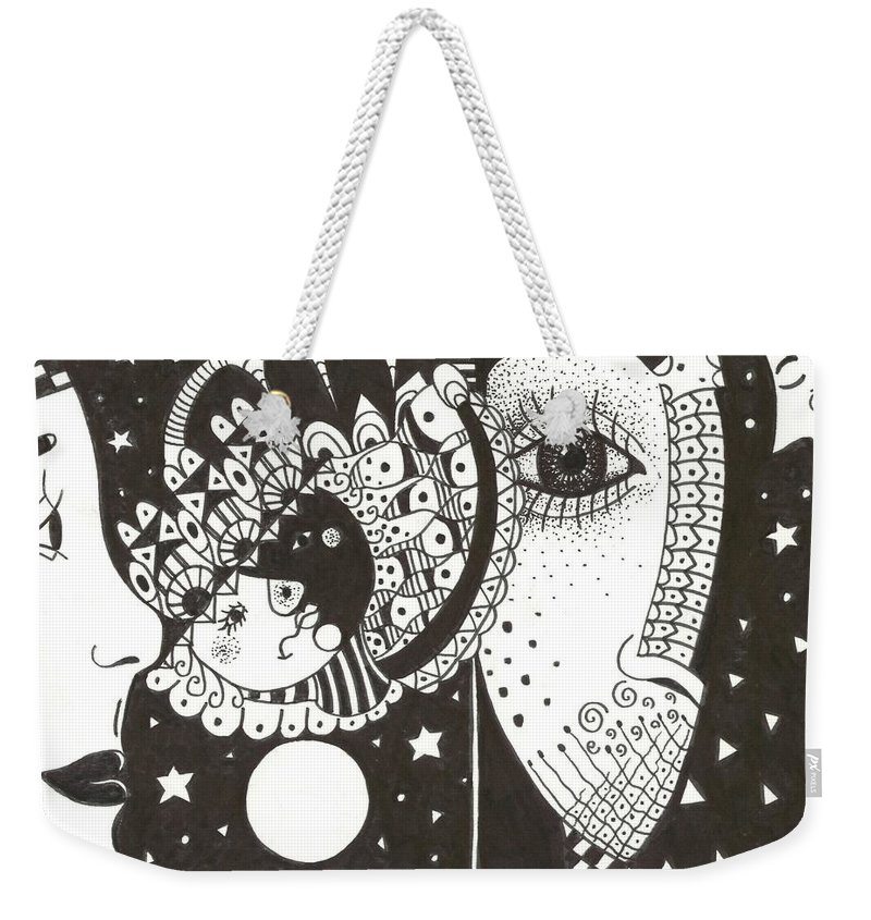 Ethereal Weekender Tote Bag featuring the drawing You Me The Stars And The Moon by Helena Tiainen