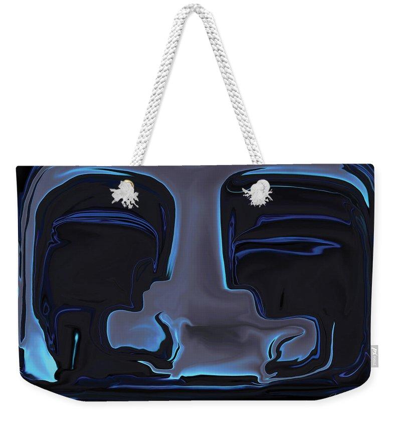Black Weekender Tote Bag featuring the digital art You N Me by Rabi Khan