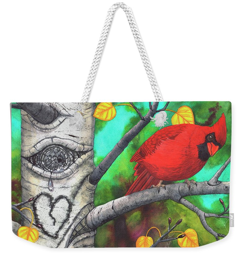Aspen Weekender Tote Bag featuring the painting You, OK? by Catherine G McElroy