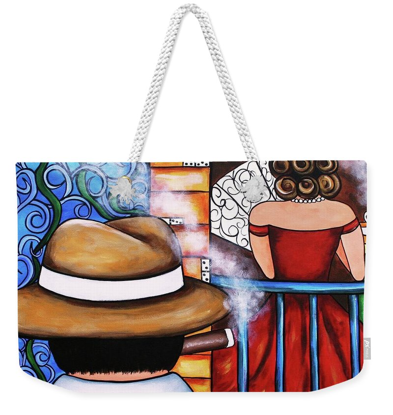 Cuba Weekender Tote Bag featuring the painting You Take My Breath Away by Annie Maxwell