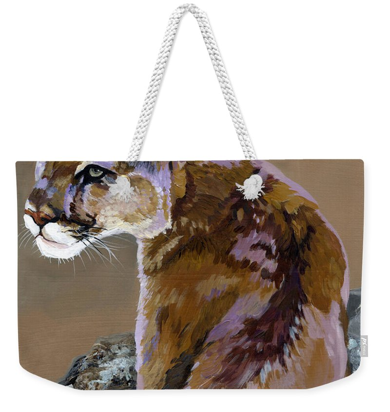 Cougar Weekender Tote Bag featuring the painting You Talking To Me by J W Baker