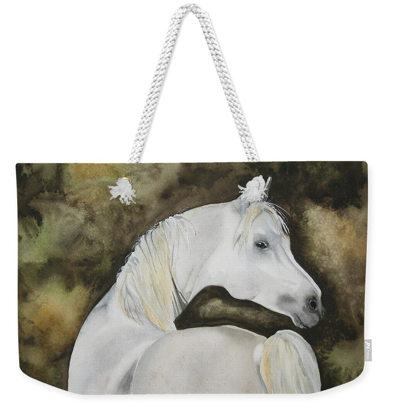 Horse Weekender Tote Bag featuring the painting You Talking To Me by Jean Blackmer