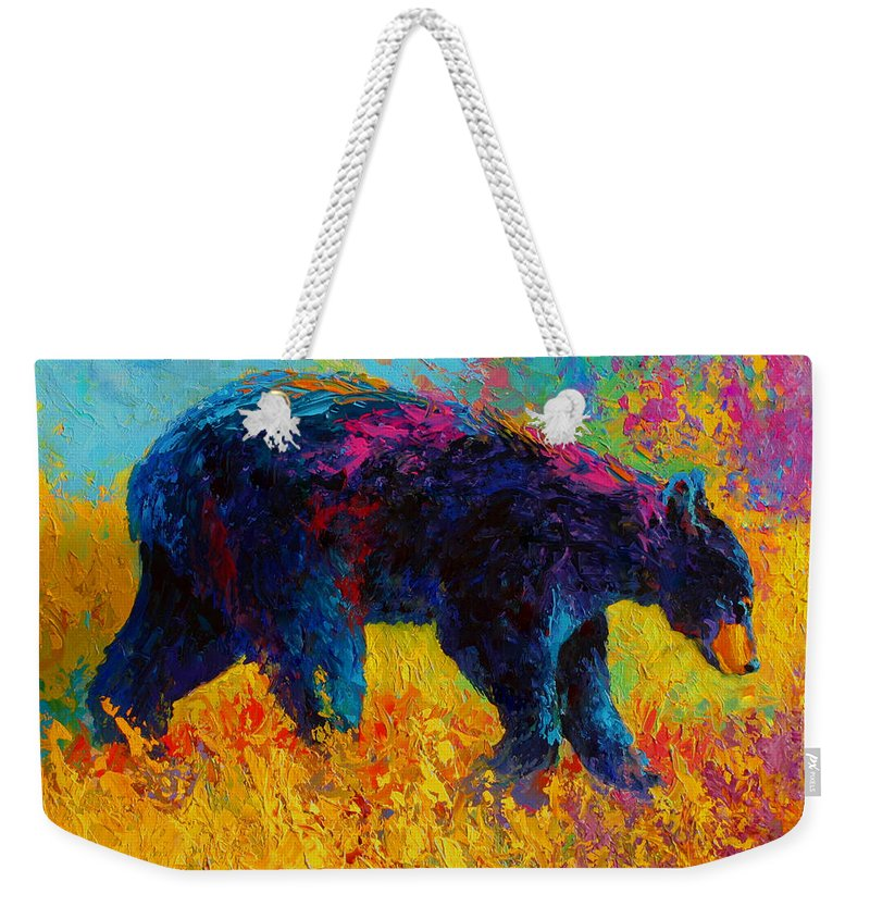 Bear Weekender Tote Bag featuring the painting Young And Restless - Black Bear by Marion Rose