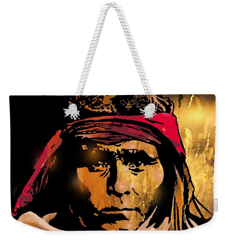 Native Americans Weekender Tote Bag featuring the painting Young Apache Brave by Paul Sachtleben