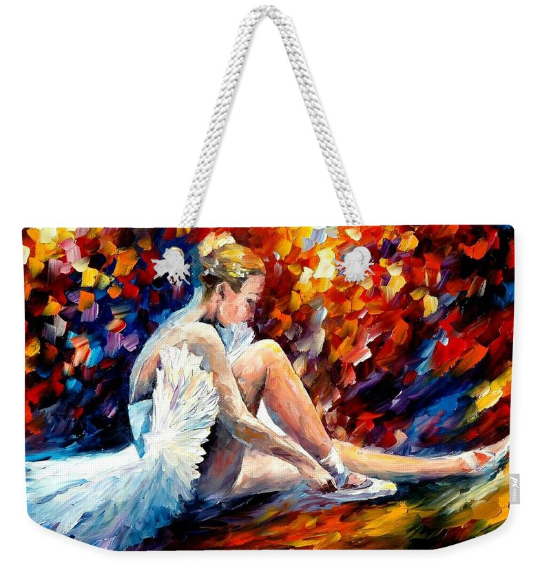 Dancer Weekender Tote Bag featuring the painting Young Ballerina by Leonid Afremov