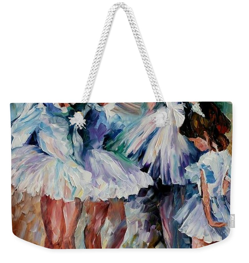 Afremov Weekender Tote Bag featuring the painting Young Ballerinas by Leonid Afremov