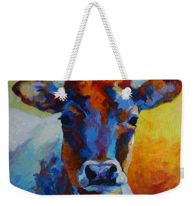Western Weekender Tote Bag featuring the painting Young Blood - Longhorn by Marion Rose