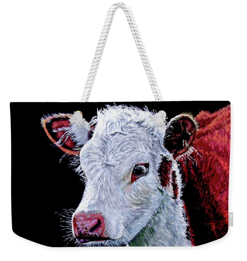 Calf Weekender Tote Bag featuring the painting Young Bull by Stan Hamilton