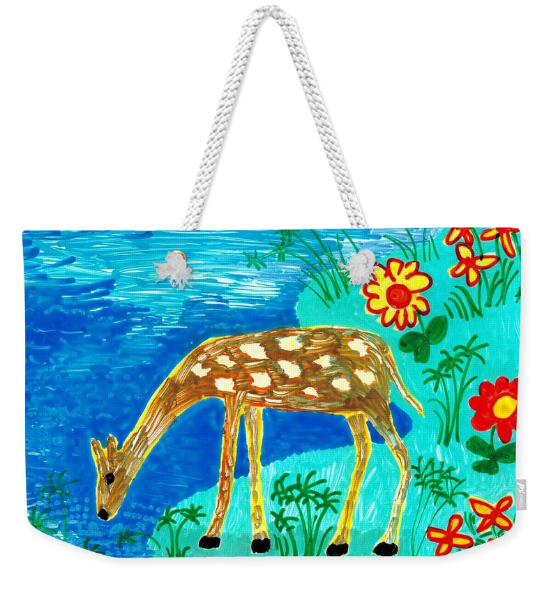 Sue Burgess Weekender Tote Bag featuring the painting Young Deer Drinking by Sushila Burgess