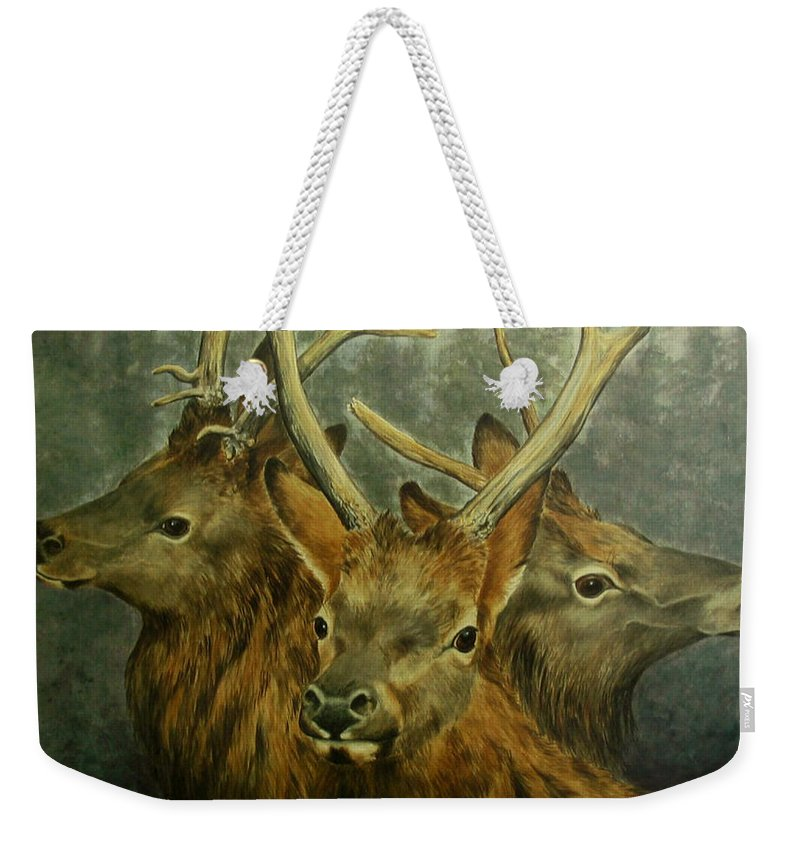 Elk Weekender Tote Bag featuring the painting Young Elk Trio- Wapiti by Elaine Booth-Kallweit