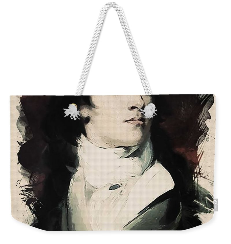 Man Weekender Tote Bag featuring the painting Young Faces From The Past Series By Adam Asar, No 107 by Adam Asar
