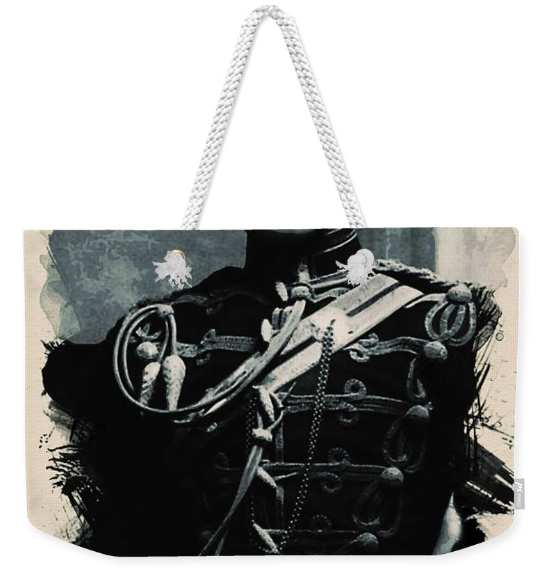 Man Weekender Tote Bag featuring the painting Young Faces From The Past Series By Adam Asar, No 111 by Adam Asar