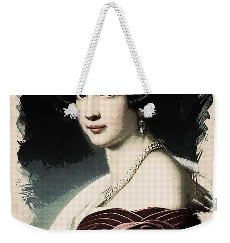 Girl Weekender Tote Bag featuring the painting Young Faces From The Past Series By Adam Asar, No 37 by Adam Asar