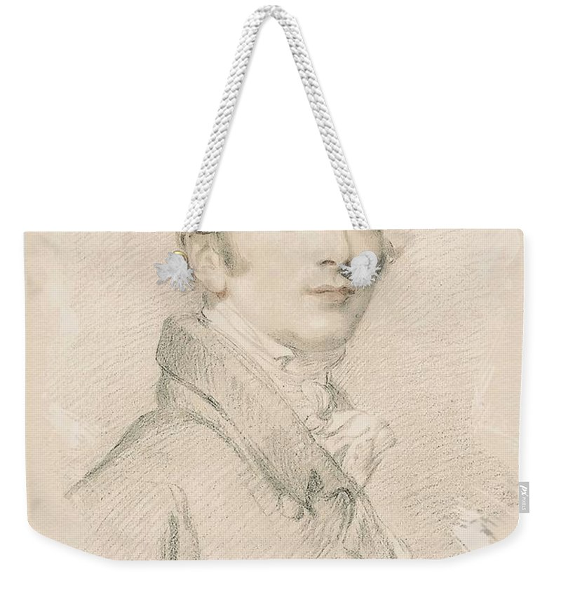 Man Weekender Tote Bag featuring the painting Young Faces From The Past Series By Adam Asar, No 50 by Adam Asar