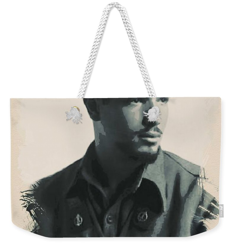 Man Weekender Tote Bag featuring the painting Young Faces From The Past Series By Adam Asar, No 52 by Adam Asar