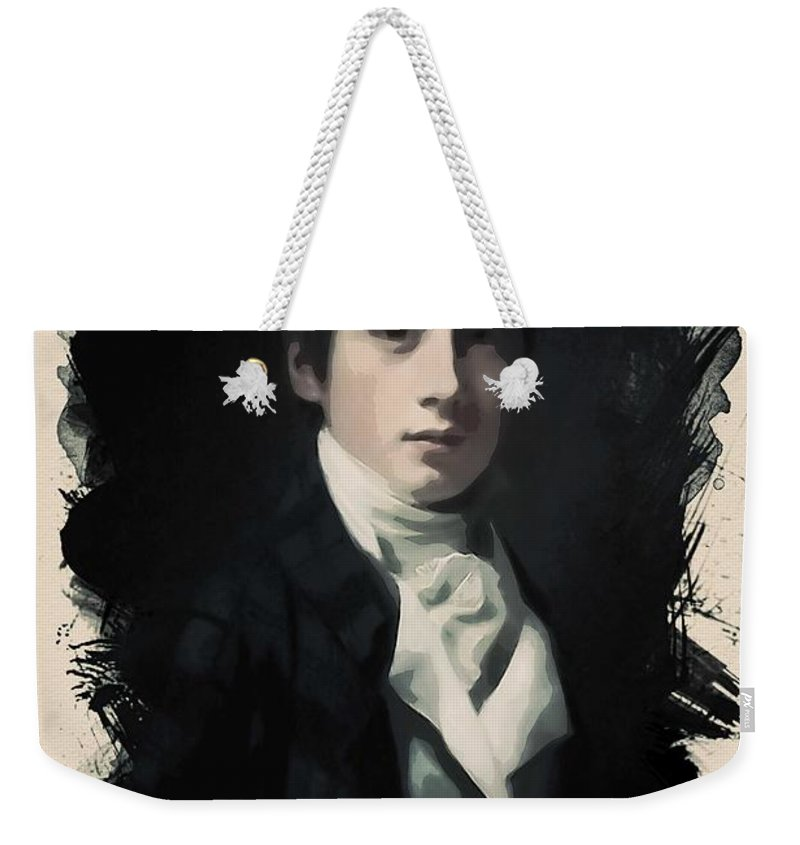 Man Weekender Tote Bag featuring the painting Young Faces From The Past Series By Adam Asar, No 58 by Adam Asar