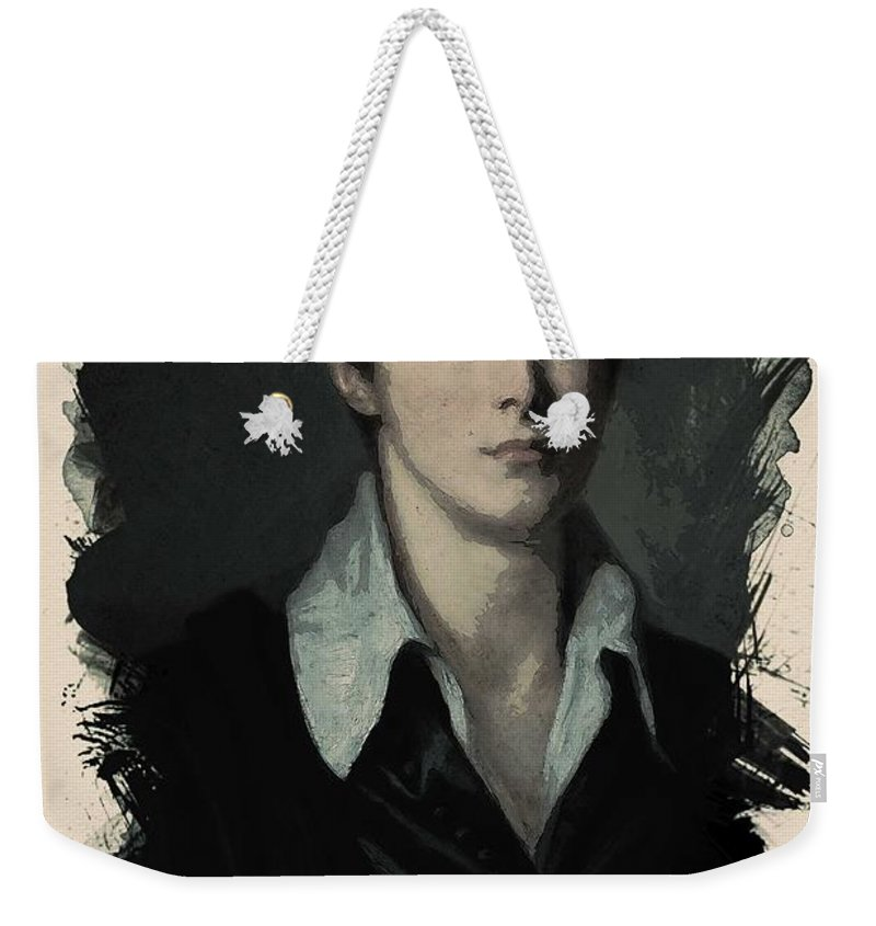 Man Weekender Tote Bag featuring the painting Young Faces From The Past Series By Adam Asar, No 62 by Adam Asar