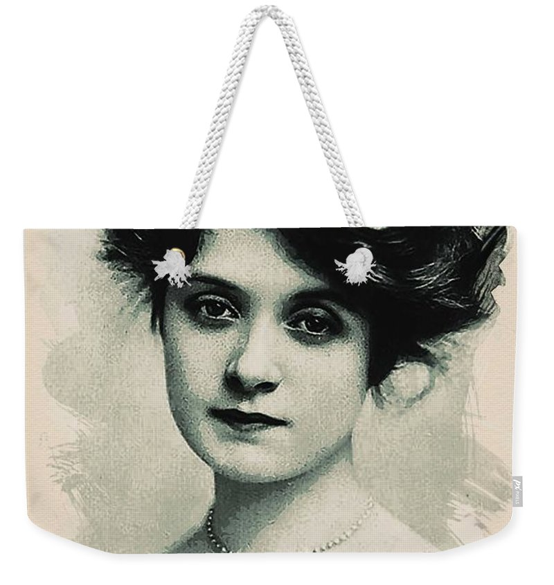 Girl Weekender Tote Bag featuring the painting Young Faces From The Past Series By Adam Asar, No 98 by Adam Asar