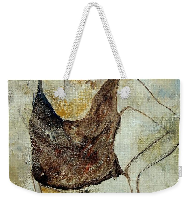 Nude Weekender Tote Bag featuring the painting Young Girl 459070 by Pol Ledent