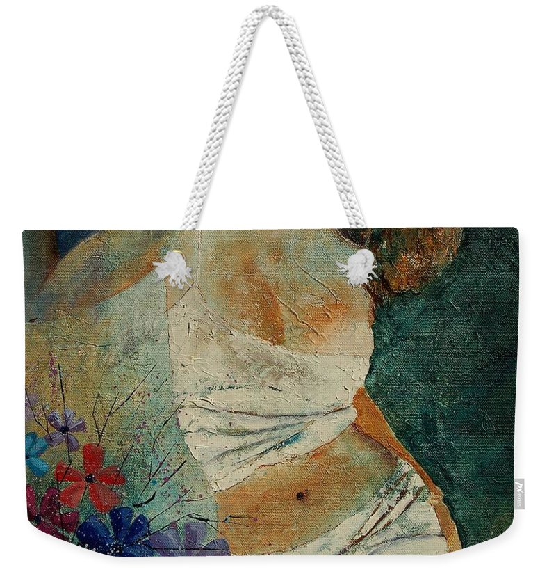 Girl Weekender Tote Bag featuring the painting Young Girl 5625632 by Pol Ledent