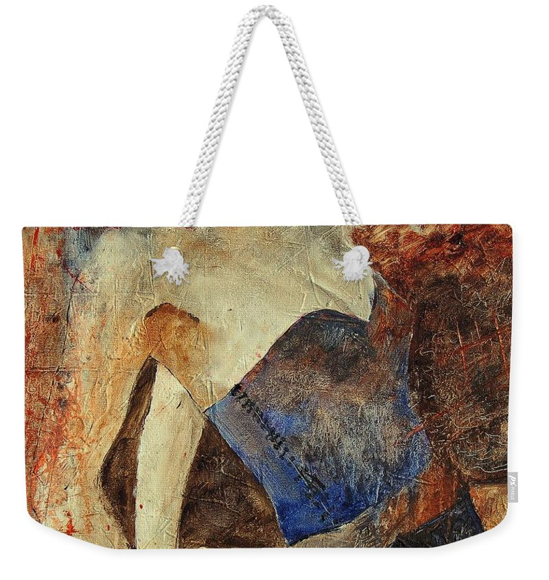 Girl Weekender Tote Bag featuring the painting Young Girl 56901247 by Pol Ledent