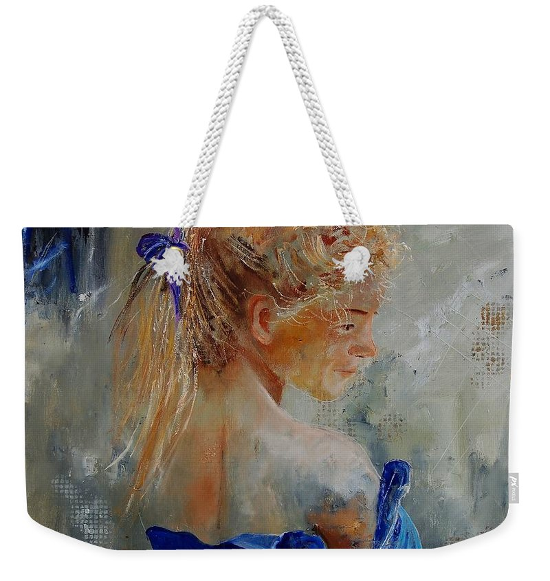 Gir Weekender Tote Bag featuring the painting Young Girl 78 by Pol Ledent