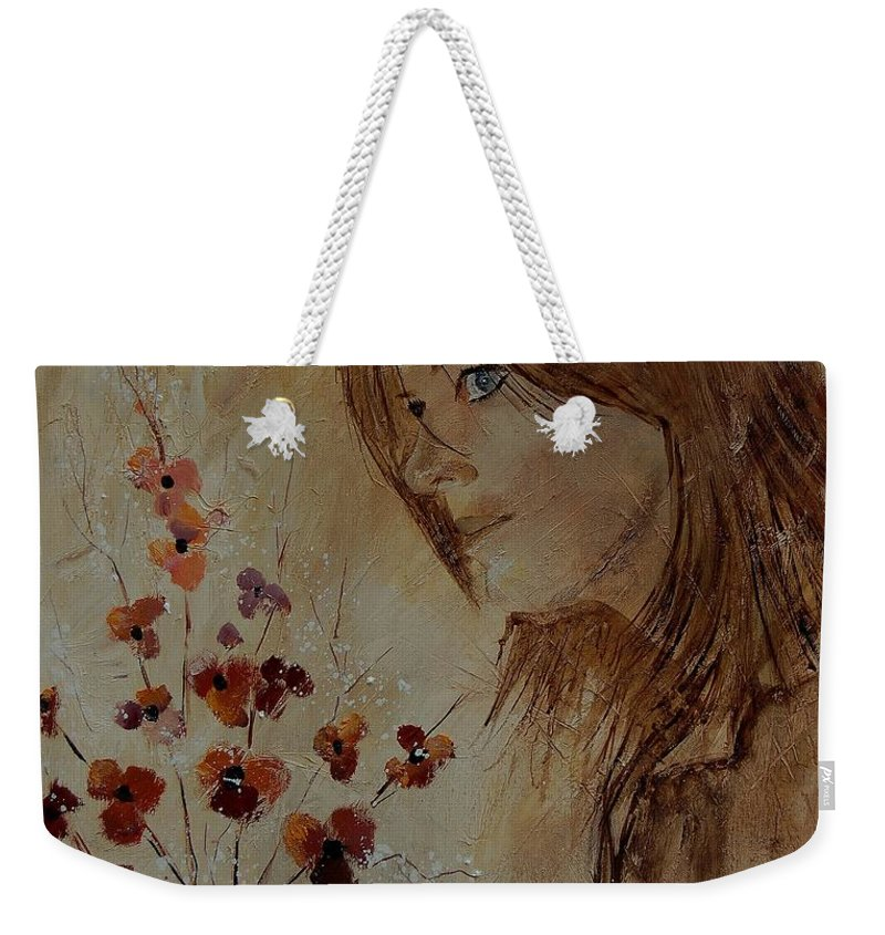 Girl Weekender Tote Bag featuring the painting Young Girl And Flowers by Pol Ledent