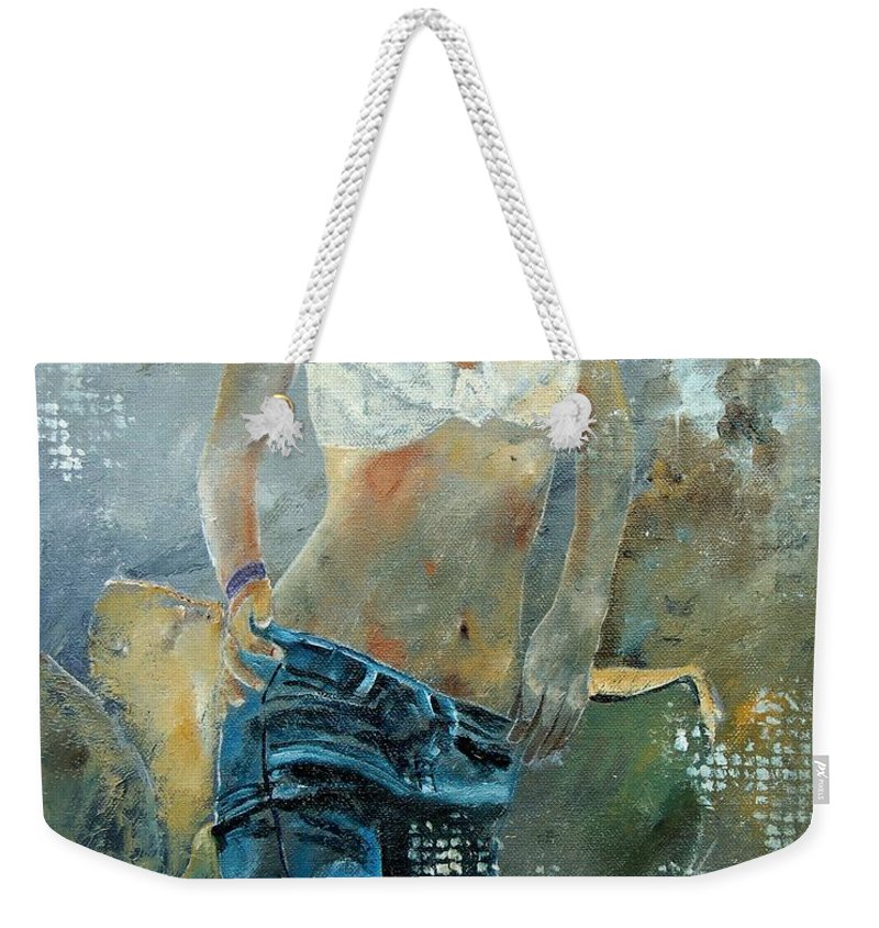 Girl Weekender Tote Bag featuring the painting Young Girl In Jeans by Pol Ledent
