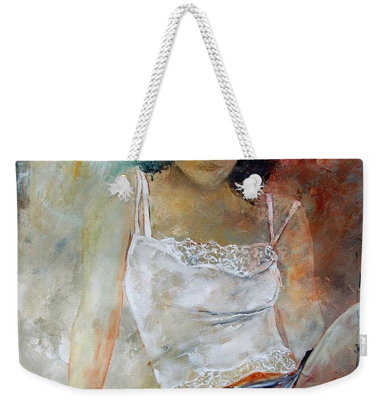 Nude Weekender Tote Bag featuring the painting Young Girl Sitting by Pol Ledent