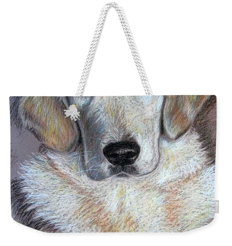 Dog Weekender Tote Bag featuring the pastel Young Golden Retriever by Nicole Zeug