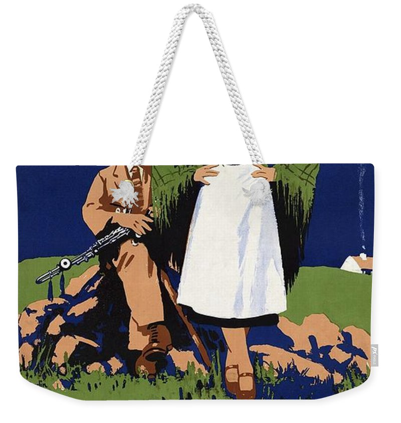 Ireland Weekender Tote Bag featuring the painting Young Irish girl and boy on a meadow - Countryside - Vintage Travel Poster by Studio Grafiikka