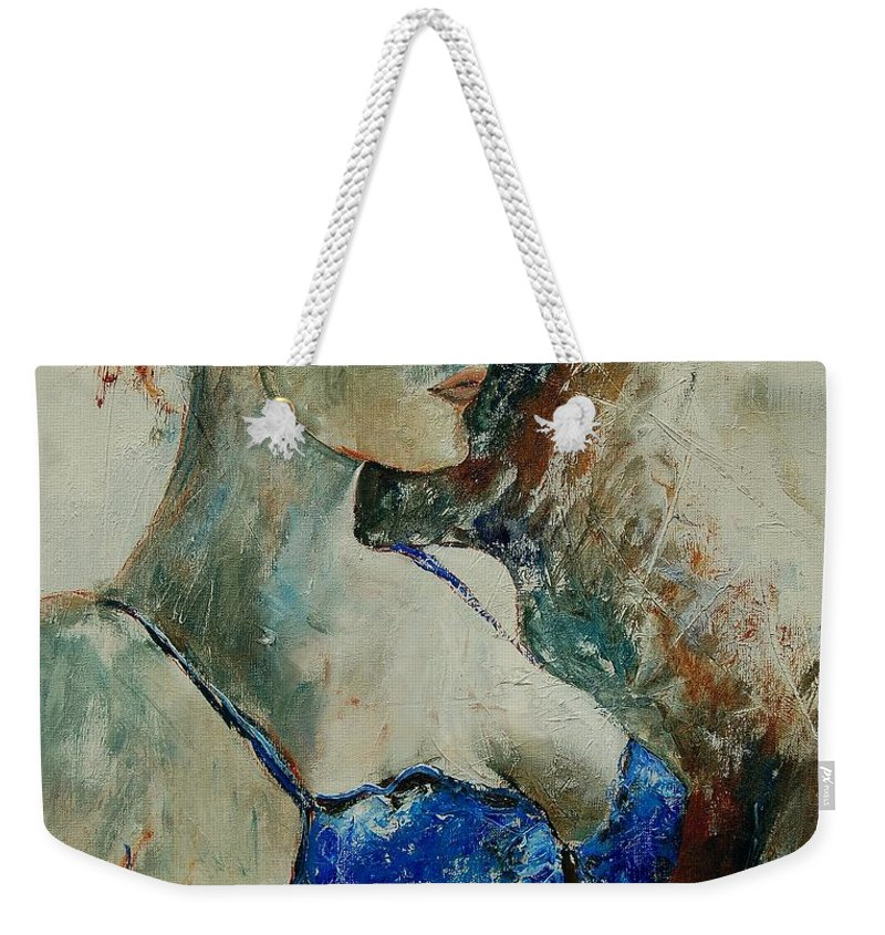 Nude Weekender Tote Bag featuring the painting Young Lady 56 by Pol Ledent
