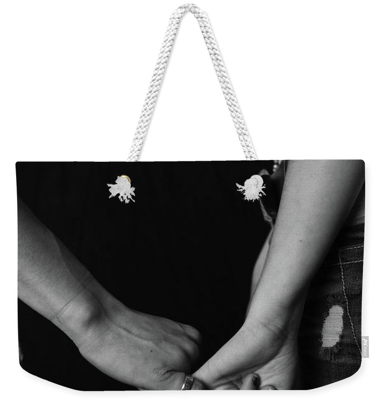 Holding Hands Weekender Tote Bag featuring the photograph Young Love - Pinky Touch by Scott Sawyer