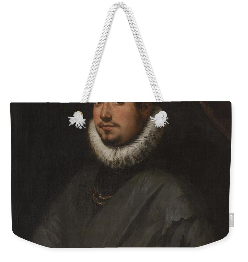 Young Man With A Bouquet Of Orange Blossoms In Her Right Hand Weekender Tote Bag featuring the painting Young Man With A Bouquet by MotionAge Designs