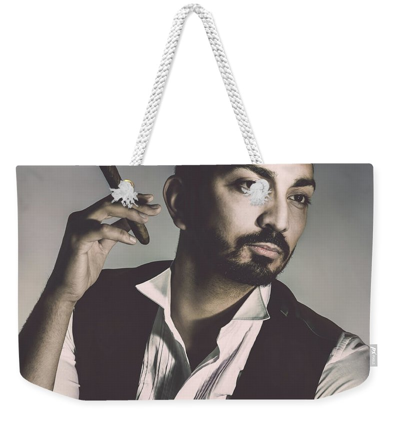 Portrait Weekender Tote Bag featuring the photograph Young Man With Cigar by Amanda Elwell