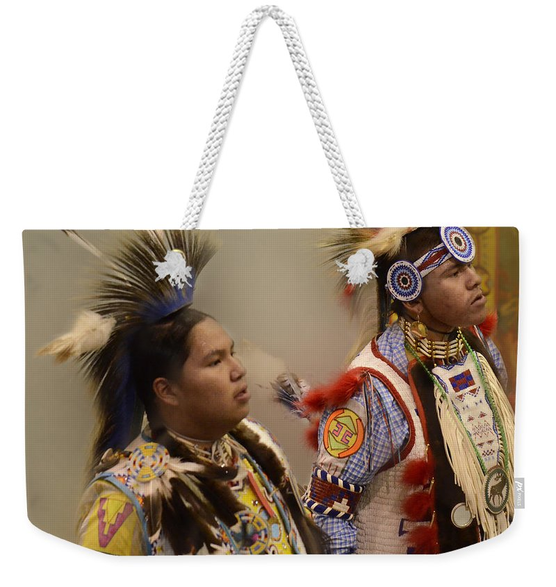 Pow Wow Weekender Tote Bag featuring the photograph Pow Wow Young Men by Bob Christopher