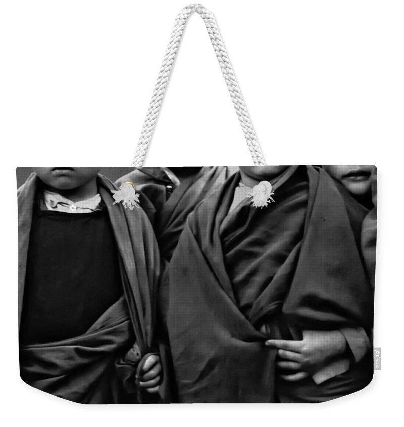 Buddhism Weekender Tote Bag featuring the photograph Young Monks II Bw by Steve Harrington