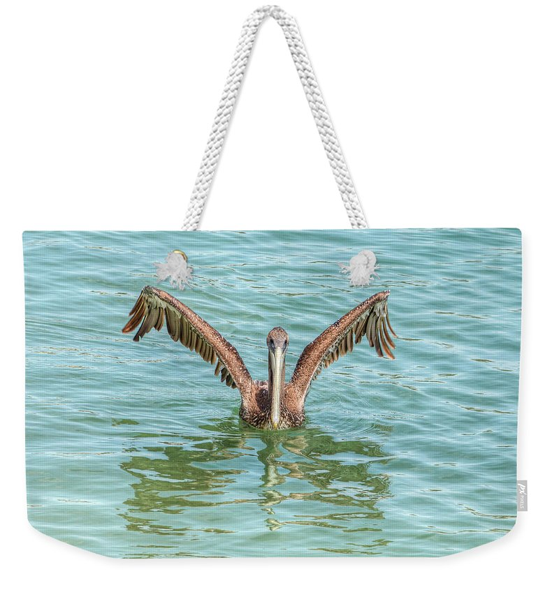 Pelican Weekender Tote Bag featuring the photograph Young Pelican 0087 by Kristina Rinell