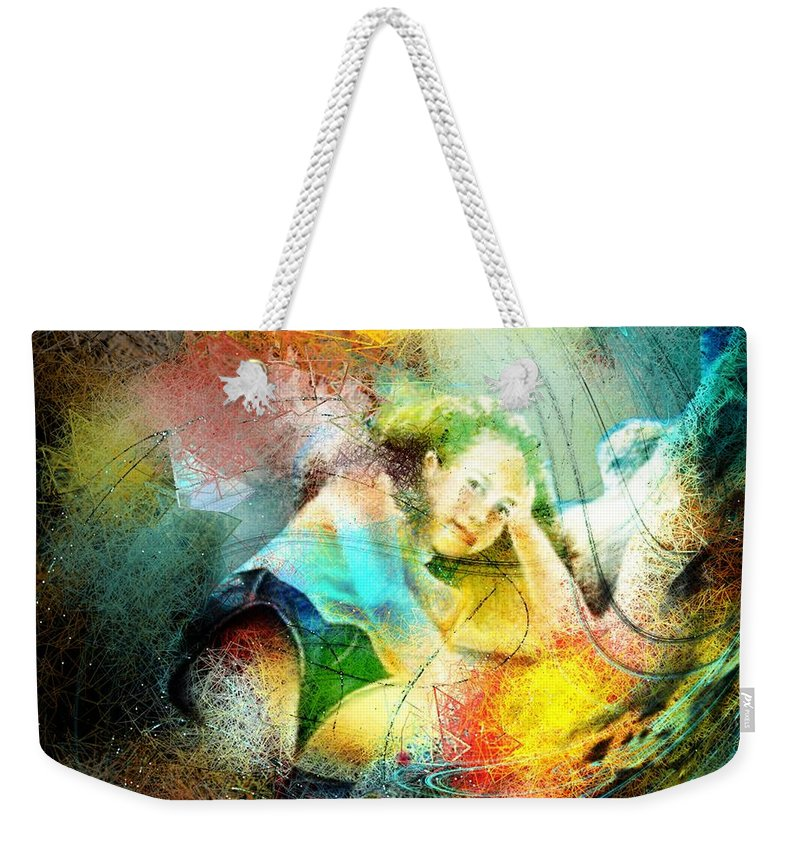 Nature Weekender Tote Bag featuring the painting Young Seduction by Miki De Goodaboom