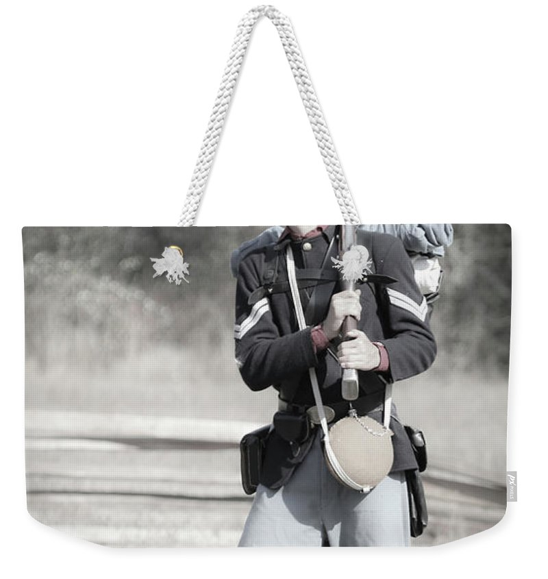 Soldier Weekender Tote Bag featuring the photograph Young Soldier II by Athena Mckinzie