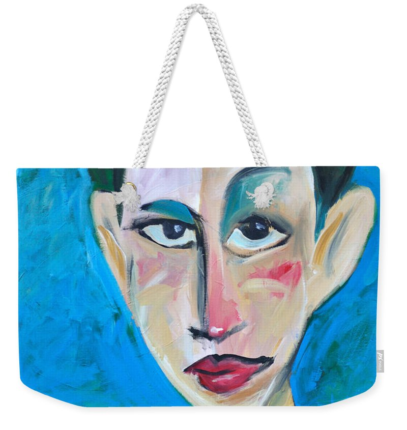 Woman Weekender Tote Bag featuring the painting Young Woman Green Field by Tim Nyberg