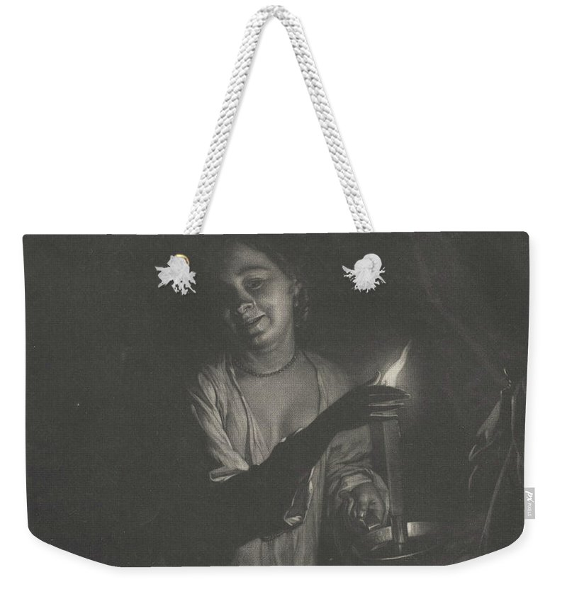Young Woman Holding A Candle In A Bedchamber Weekender Tote Bag featuring the painting Young Woman Holding A Candle by Nicholas Verkolje